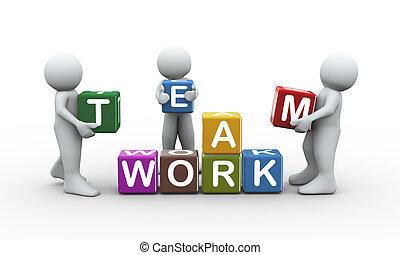3d, gente, trabajo equipo, cubos