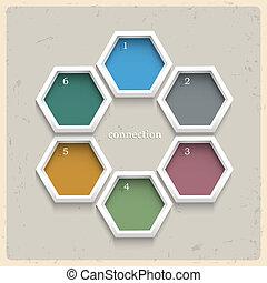 3d, geométrico, coloreado, numerado, banderas
