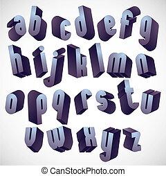 3d geometric bold font, monochrome dimensional alphabet.