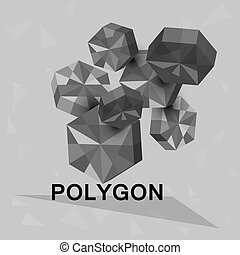 3D geometric elements. Polygons. Vector.