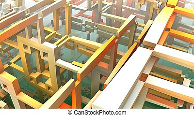 3D geometric shapes floating in space, 3D Labyrinth or Maze