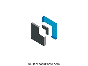 3D geometry abstract construction vector logo
