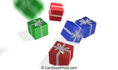 3d, geschenke, fallender