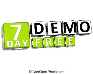 3D Get 7 Day Demo Free Block Letters over white background