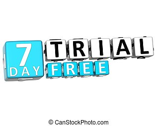 3D Get 7 Day Trial Free Block Letters over white background
