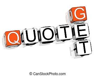 Get a Quote Crossword - 3D Get a Quote Crossword on white...