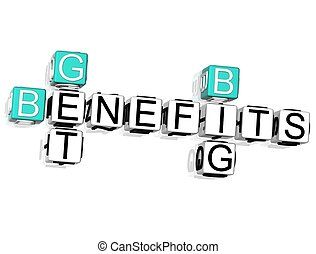 3D Get Big Benefits Crossword on white background