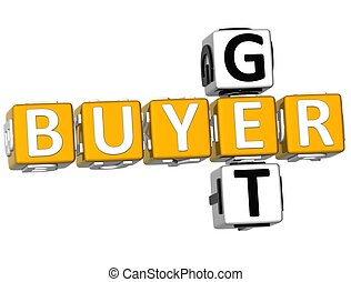 3D Get Buyer Crossword on white background