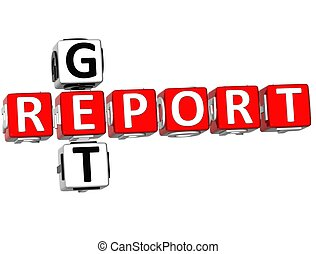 3D Get Report Crossword on white background