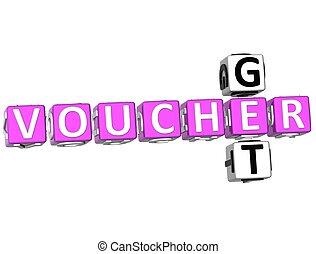 Get Voucher Crossword - 3D Get Voucher Crossword on white...