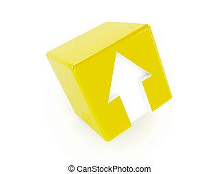 3d, giallo, cubo, con, un, freccia, indicare, su.