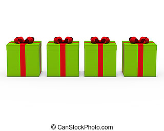 3d gift box green red