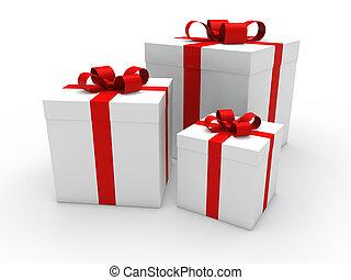 3d gift box red white