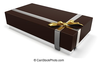 3d gift box with golden bow
