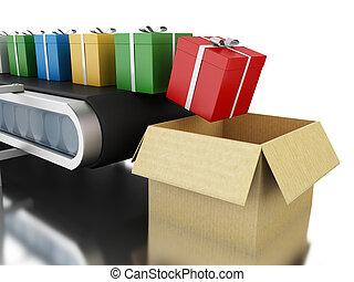 3d Gift boxes on conveyor belt.