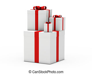 3d gift christmas red white