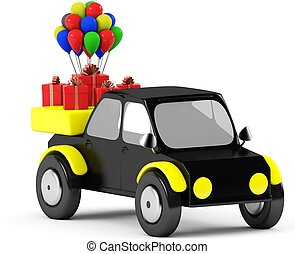 3D Gift with balls in a black car