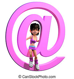 3d Girl with email address symbol
