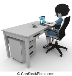 3d girl working in the office isolated on white