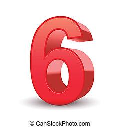 3d, glanzend, getal, rood, 6