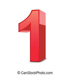 3d, glanzend, rood, nummer 1