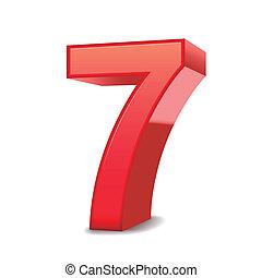 3d, glanzend, rood, nummer 7