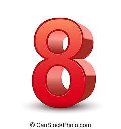 3d, glanzend, rood, nummer 8