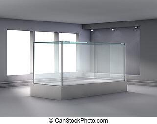 3d, glas, vitrine, en, niche, met, schijnwerpers, voor,...