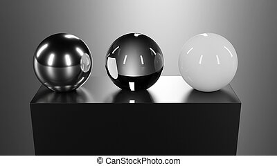 3d glass, chrome and plastic spheres on black plastic pedestal