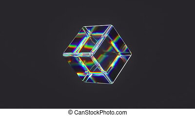 3d glass rotating cube with dispersion effect. Dark background. Trendy iridescent colors. HD seamless looped animation.