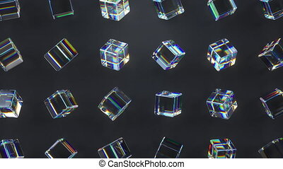 3d glass rotating cubes.