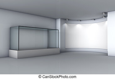 3d glass showcase and niche with spotlights for exhibit in...