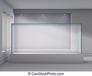 3d glass showcase and niche with spotlights for exhibit in ...