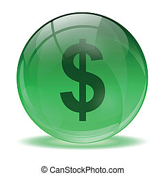 3D glass sphere and green dolar ico
