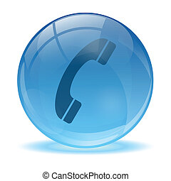3D glass sphere phone icon