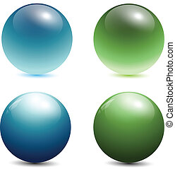 3D glass spheres - glass spheres, balls, 3d vector...