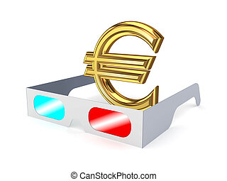 3d glasses and sign of euro.