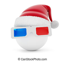 3d glasses ball santa hat on a white background