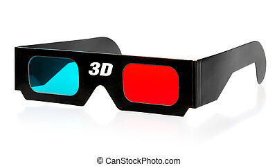 3d Glasses - black 3d eyeglasses isolated on white...