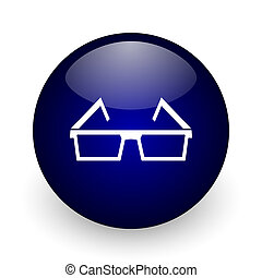 3d glasses blue glossy ball web icon on white background. Round 3d render button.