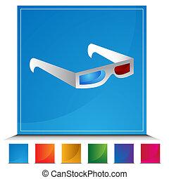 3D Glasses Button Set