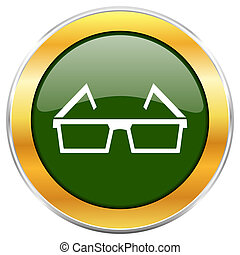 3d glasses green glossy round icon with golden chrome metallic border isolated on white background for web and mobile apps designers.