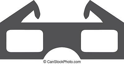 3d glasses icon in black on a white background. Vector illustration