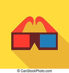 3D glasses icon in flat style