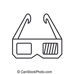 3d glasses icon, vector illustration, sign on isolated background