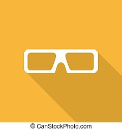 3d glasses icons with a long shadow