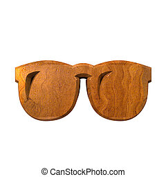 3d glasses in wood