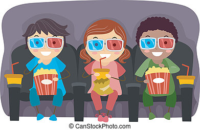 3D Glasses Kids - Illustration of Kids Watching a Movie with...