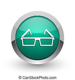 3d glasses silver metallic chrome web design green round internet icon with shadow on white background.