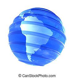 3d glassy Earth Globe focused in South America